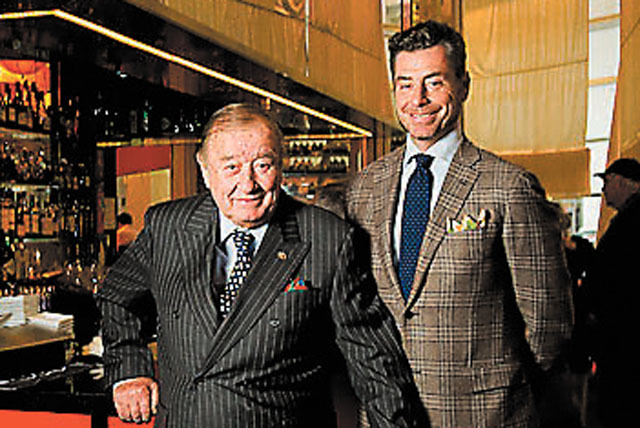 Restaurant titan Sirio Maccioni (left) and son Mauro told us stories at their Sirio Ristorante in Aria hotel this week. Courtesy photo by Donnelly Marks for Le Cirque.