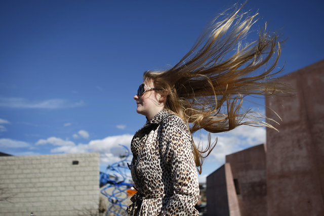 A gust of wind blows Lani Kai Ritter's hair while she was visiting the Red Rock Conservation Area outside of Las Vegas Friday, Feb. 25, 2011. (JOHN LOCHER/LAS VEGAS REVIEW-JOURNAL)