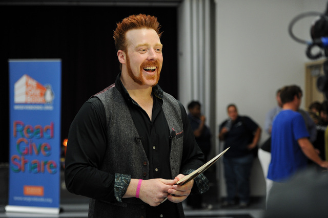 WWE Superstar Sheamus talks with the media after a book reading at Gragson Elementary School in Las Vegas Thursday, Oct. 3, 2013.  Jumpstart's Read for the Record is a world-record-breaking campai ...