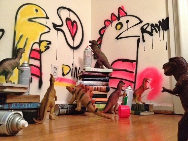 """""""This is why we can't have nice things."""" Susan and Refe Tuma dedicate the month of November every year to making their children believe their toy dinosaurs come to life at night. (Dinovember/Facebook)"""
