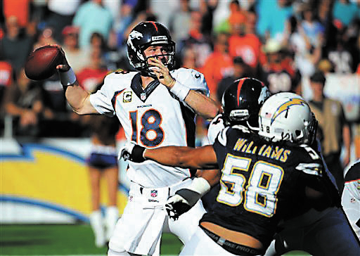 Denver Broncos quarterback Peyton Manning (18) throws during the second half of an NFL football game against the San Diego Chargers, Sunday, Nov. 10, 2013, in San Diego. (AP Photo/Denis Poroy)