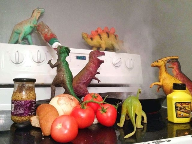 """""""Last night, the dinosaurs attempted to prepare a midnight snack. Also, a ketchup keg-stand."""" Susan and Refe Tuma dedicate the month of November every year to making their children believe their t ..."""