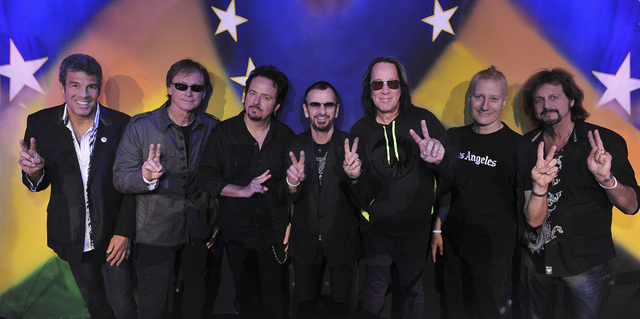 Ringo Starr & His All Starr Band includes, from left, Mark Rivera, Richard Page, Steve Lukather, Starr, Todd Rundgren, Gregg Bissonette and Gregg Rolie. The band performs Friday and Saturday at Th ...