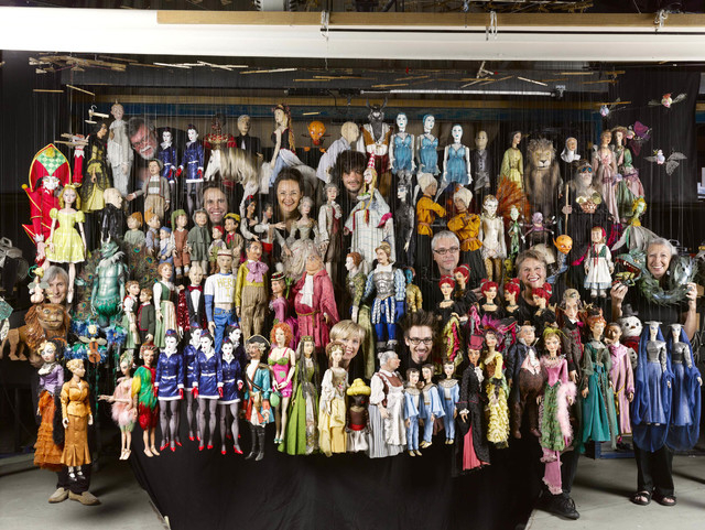 Salzburg Marionette Theatre puppets are joined by their puppeteers. (Courtesy)