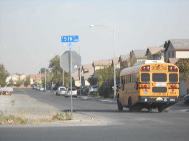 A bus rolls past the intersection of North 5th Street and East La Madre Way in North Las Vegas Oct. 28. A $135 million overhaul on the street, one of only two major city-maintained commuter routes ...