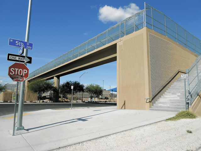 A pedestrian bridge, pictured Oct. 29, spans Judson Avenue across North 5th Street.  A $135 million overhaul on the street, one of only two major city-maintained commuter routes running north from ...