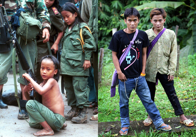 Luther Htoo, left, and his brother Johnny at their jungle camp in Myanmar and 14 years later in western Thailand. When they were kids, the twins were bulletproof and invulnerable to land mines - o ...