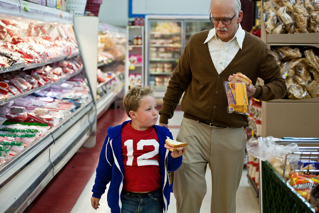 """This photo released by Paramount Pictures shows Jackson Nicoll, left, as Billy and Johnny Knoxville, as Irving Zisman in """"Jackass Presents: Bad Grandpa,"""" from Paramount Pictures and MTV  ..."""