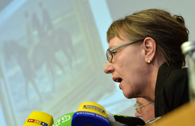 Expert and art historian Meike Hoffmann from the Berlin Free University speaks during a news conference in Augsburg, southern Germany, Tuesday, Nov. 5, 2013, on the art found in Munich. A hoard of ...