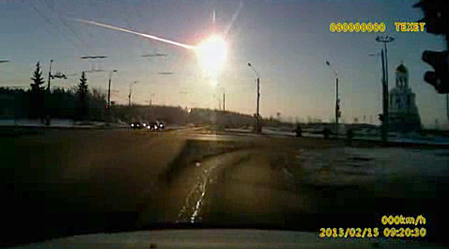 In this frame grab made from dashboard camera vide shows a meteor streaking through the sky over Chelyabinsk, about 930 miles east of Moscow, Friday, Feb. 15, 2013. After a surprise meteor hit Ear ...