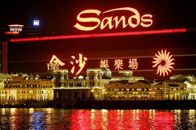 Las Vegas Sands casino sits behind the Fishermans Wharf in Macau