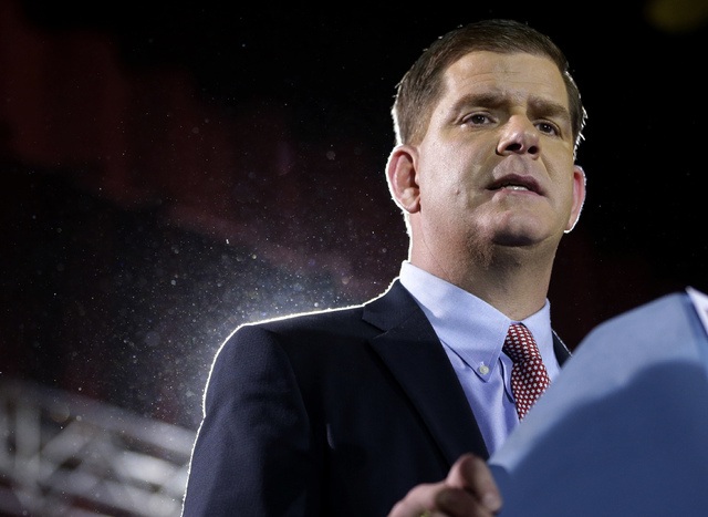 Newly elected Boston Mayor Martin Walsh addresses an audience during a watch party Tuesday, Nov. 5, 2013 in Boston. Walsh defeated Boston City Councilor John Connolly in the mayoral race. Thomas M ...