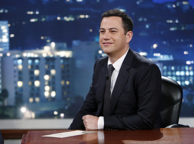 """This photo released by ABC shows Jimmy Kimmel on """"Jimmy Kimmel Live"""" ABC's late-night host conducted what is becoming an annual prank during the past week, encouraging parents to tell their childr ..."""