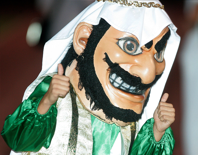 "In this Sept. 10, 2010 photo, Coachella Valley High School's mascot, ""Arab,"" gives the thumbs during a game against Yucca Valley, in Thermal, Calif. The American-Arab Anti-Discrimination Committee ..."
