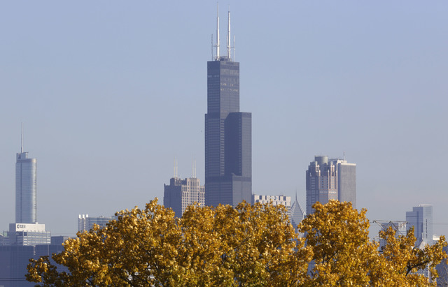 A partial view of Chicago's 110 story, 1,450 foot Willis Tower. (AP Photo/M. Spencer Green)