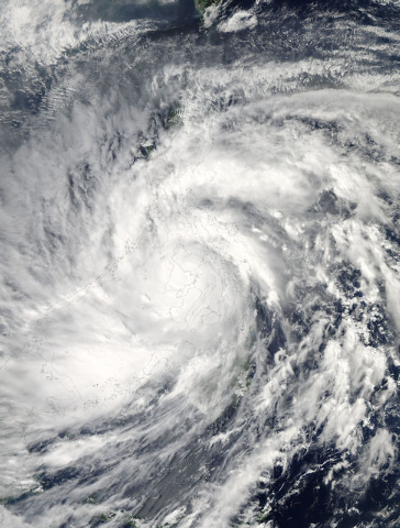 This image provided by NASA shows Typhoon Haiyan taken by the Aqua satellite Friday, Nov. 8, 2013, at 12:15 a.m. EST as it passed over the Philippines. One of the strongest storms to ever make lan ...