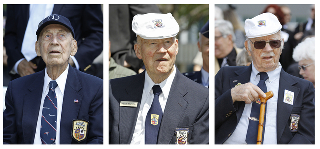 FILE - In these April 18, 2012 file photos, surviving Doolittle Raiders Richard Cole, left, David Thatcher, center, and Edward Saylor take part in a commemoration for the 70th anniversary of the r ...