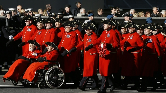 Chelsea Pensioners march during the service of remembrance at the Cenotaph in Whitehall, London, Sunday, Nov. 10, 2013. The annual remembrance service is to remember those who have lost their live ...