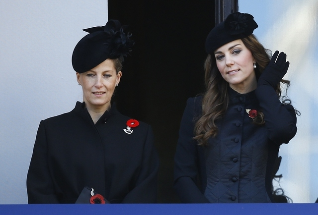 Britain's Kate, the Duchess of Cambridge, right, and Sophie, the Countess of Wessex listen from a balcony during the service of remembrance at the Cenotaph in Whitehall, London, Sunday, Nov. 10, 2 ...