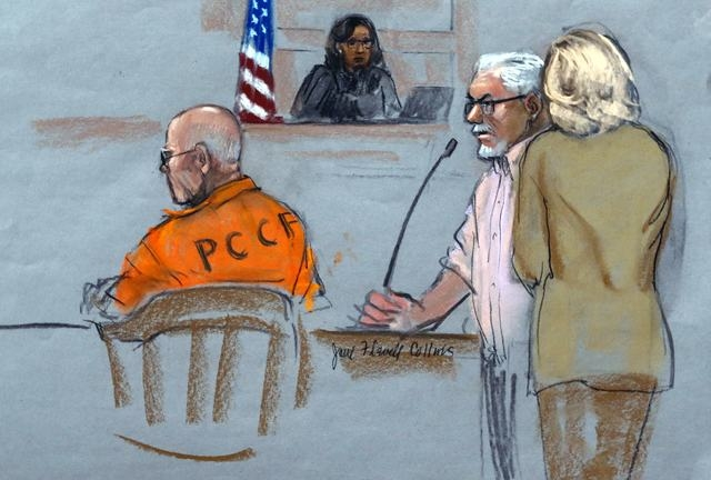 "In this courtroom sketch, Steven Davis, second right, brother of slain Debra Davis, is comforted by his wife, right, as he testifies at the sentencing hearing for James ""Whitey"" Bulger, left, at f ..."