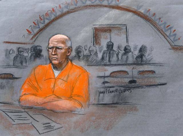 "In this courtroom sketch, James ""Whitey"" Bulger sits at his sentencing hearing in federal court in Boston on Wednesday. Bulger was convicted in August in a broad indictment that included racketeer ..."