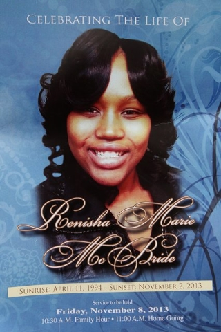 In this Nov. 8, 2013 file photo is the front cover of a funeral program for 19-year-old Renisha McBride from a service at House of Prayer & Praise Cathedral in Detroit. Prosecutors announced Thurs ...