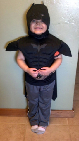 This undated image released by Make-A-Wish Greater Bay Area, shows five-year-old Miles Scott dressed as batman.(AP Photo/Make-A-Wish Greater Bay Area)