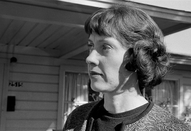 FILE - In this Dec. 5, 1963 file photo, Ruth Hyde Paine stands outside her home in Irving, Texas. At the house on the morning of Friday, Nov. 22, 1963, Lee Harvey Oswald made coffee, dressed for w ...