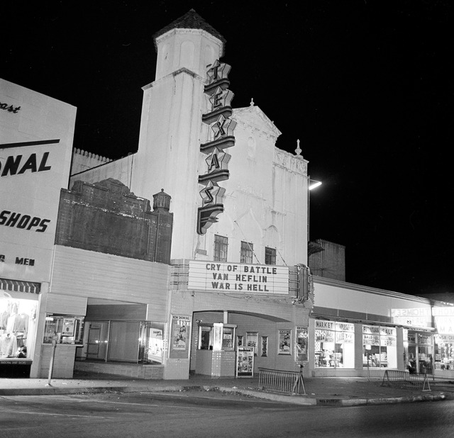 FILE - This Nov. 22, 1963 file photo shows the Texas Theatre where Lee Harvey Oswald was arrested after U.S. President John F. Kennedy was shot and killed in Dallas. The Warren Commission said Osw ...