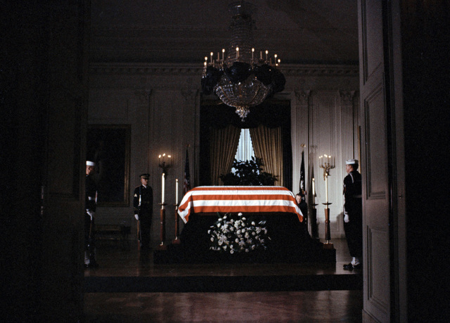 "FILE - In this Saturday, Nov. 23, 1963 file photo, the flag-draped casket of President John F. Kennedy lies in state in the East Room of the White House in Washington. ""Jackie Kennedy sent wo ..."