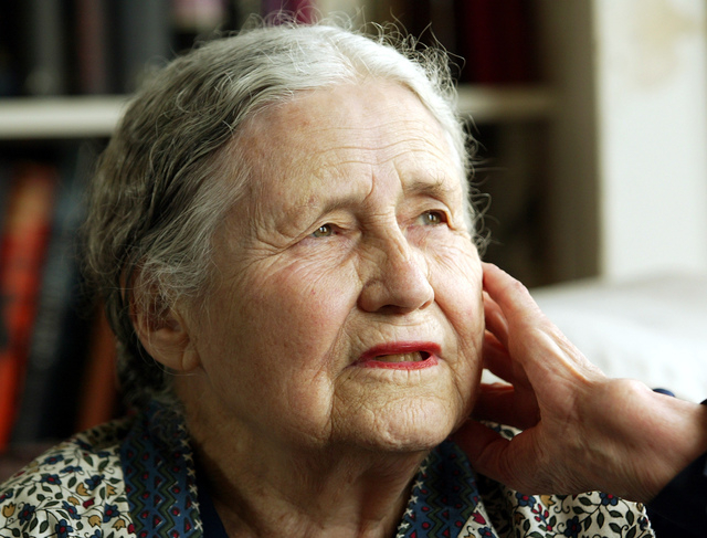 "In this April 17, 2006 file photo, Writer Doris Lessing, 86, sits in her home in north London. Doris Lessing, the free-thinking, world-traveling, often-polarizing writer of ""The Golden Notebook"" a ..."