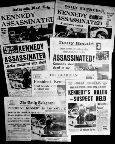 This Friday, Nov. 22, 1963 file photo shows the front pages of seven British national daily newspapers in London headlining the assassination of U.S. President John F. Kennedy. Friday, Nov. 22, 20 ...