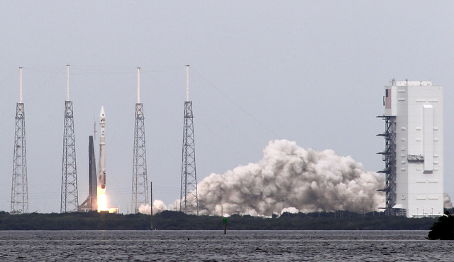 """NASA's Maven, short for Mars Atmosphere and Volatile Evolution, with a capital """"N'' in EvolutioN, atop a United Launch Alliance Atlas 5 rocket, lifts off from Cape Canaveral Air Force Station ..."""
