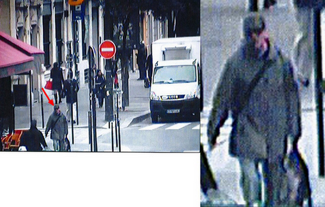 A two-picture combo taken Monday, Nov. 18, 2013, from  footage of a security camera released by the Paris prosecutor office shows a man carrying a bag, red arrow on left, outside the Liberation ne ...