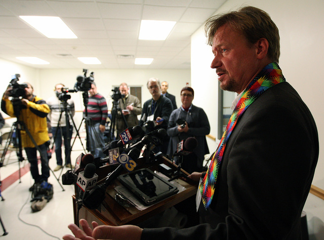 The Rev. Frank Schaefer, of Lebanon Pa., speaks to the media after the sentencing phase of the trial at Camp Innabah, a United Methodist retreat, in Spring City Pa. Tuesday Nov. 19, 2013. A jury o ...