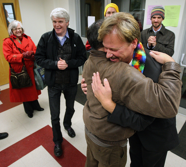 The Rev. Frank Schaefer, right, of Lebanon Pa., gets hug from supporter Andrew Monath, of New Hope Pa., after the sentencing phase of the trial at Camp Innabah, a United Methodist retreat, in Spri ...