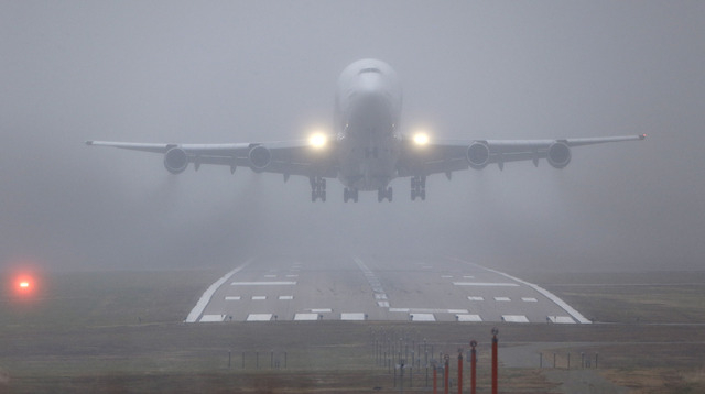 A Boeing 747 Dreamlifter takes off Thursday, the day after it mistakenly landed at Col. James Jabara Airport in Wichita, Kan. The jet landed Wednesday evening at the airport, about 8 miles north o ...