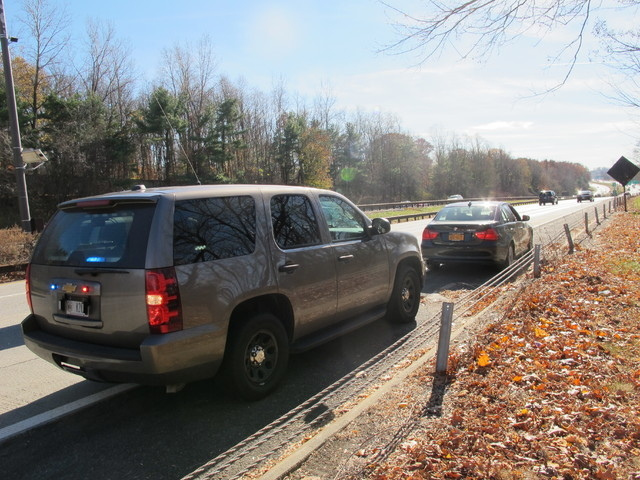 An unmarked New York State Police SUV is seen in Mount Pleasant, N.Y., on Thursday, Nov. 14, 2013, after a trooper pulled over another driver for distracted driving. Troopers are using a fleet of  ...