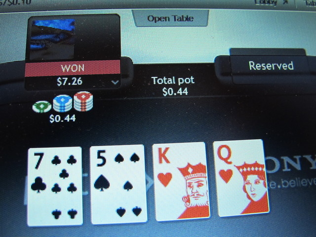 A computer screen in Atlantic City, N.J., shows an Internet poker game in which a player won a bet on an international site of the partypoker website on Nov. 19, 2013. The company is partnered wit ...