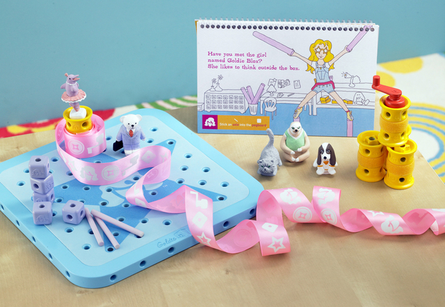 "This August 2012 file photo released by GoldieBlox, Inc., shows the toy items from ""GoldieBlox and the Spinning Machine,"" photographed in San Francisco. The toys main character is a female enginee ..."