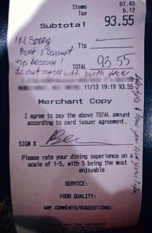 Dayna Morales said on Facebook a family she served refused to tip and left a hateful note on their receipt. (Have a Gay Day/Facebook)