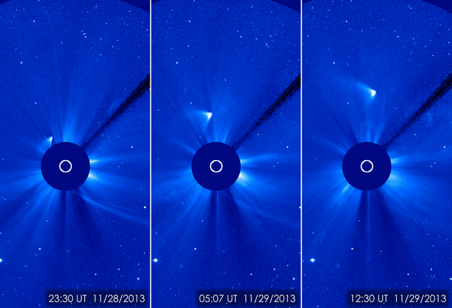 In this combination of three images provided by NASA, comet ISON appears as a white smear heading up and away from the sun on Thursday and Friday, Nov. 28-29, 2013.  ISON was not visible during it ...
