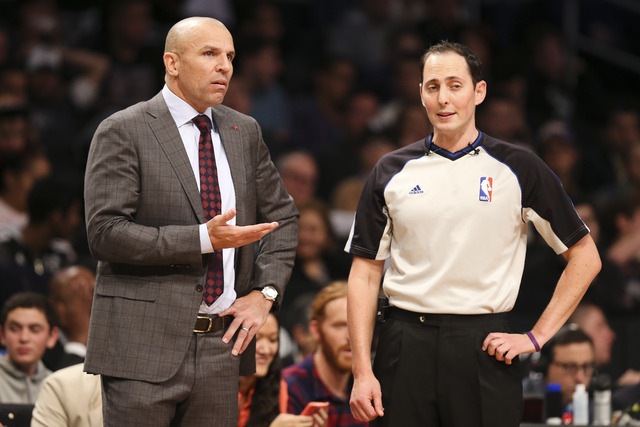 Brooklyn Nets head coach Jason Kidd, left, argues with referee Marat Kogut in the second half of an NBA basketball game against the Los Angeles Lakers at the Barclays Center on Wednesday in New Yo ...