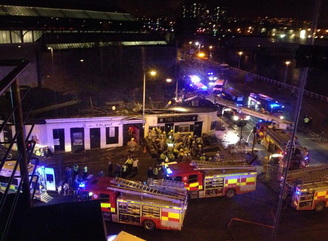 Picture taken with permission from Jan Hollands Twitter feed JanHollands@Janney_h of the helicopter crash at the Clutha Bar in Glasgow Friday Nov. 29, 2013. The police helicopter crashed late Frid ...