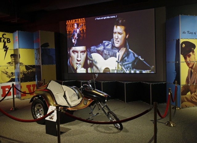 A custom motorcycle is displayed in the Elvis exhibit at the Rock and Roll Hall of Fame and Museum in Cleveland. Over 40 new items on loan from Graceland, excluding the cycle, will be displayed wh ...