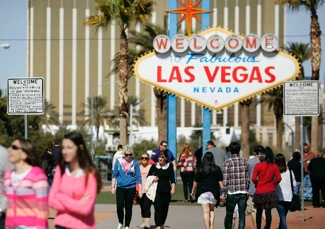 """The famous """"Welcome to Fabulous Las Vegas"""" sign on the Strip officially makes the transition from the electrical grid to solar power on Monday. (Review-Journal File Photo)"""