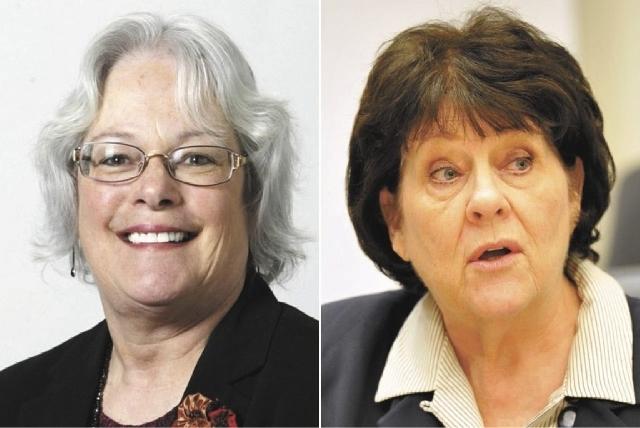 Clark County School Board President Carolyn Edwards, left, and Associate Superintendent Joyce Haldeman. (Files, Las Vegas Review-Journal)