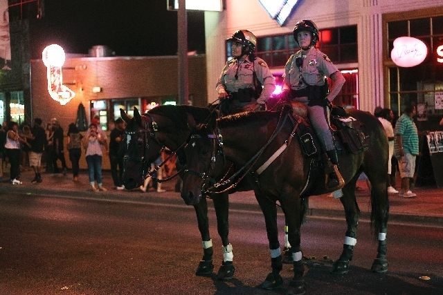 Police downtown on mounted horses. (Las Vegas Review-Journal/file)