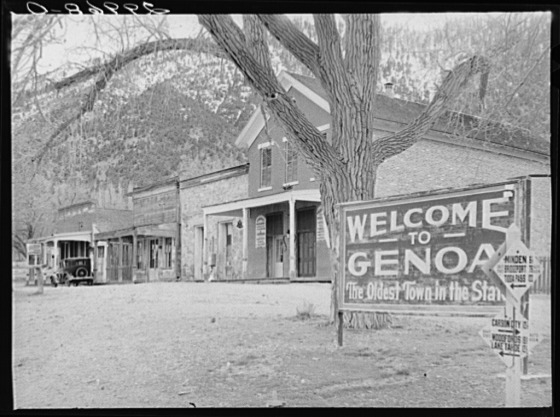 First permanent settlement in state was made in 1850 at Genoa, Nev. (Courtesy Library of Congress, photographer Arthur Rothstein)