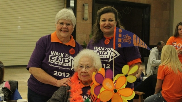 Margaret Foy, librarian at Bishop Gorman High School, standing far left, Joanne Andrews, standing far right, and Foy's mother, Jessie Foy, seated, are seen at the 2012 walk in Las Vegas. This year ...